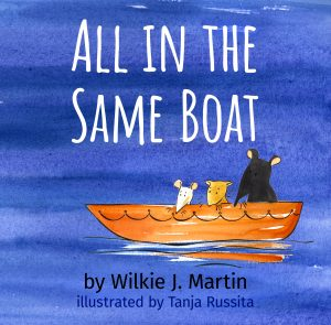 All in the Same Boat cover, rat, gerbil and mouse in lifeboat at sea watercolour