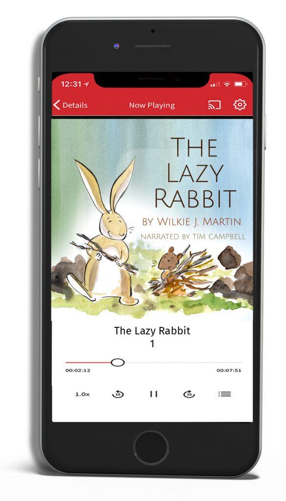The Lazy Rabbit audiobook shown playing on mobile phone