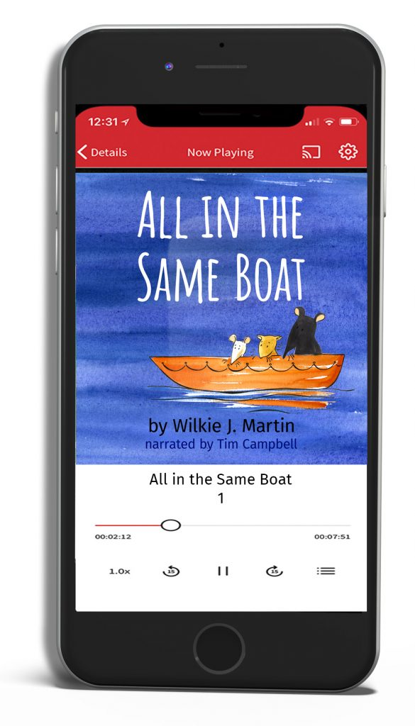 All in the Same Boat audiobook shown palying on mobile phone